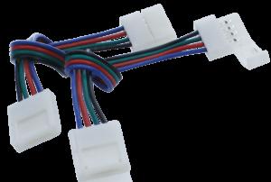 Коннектор для ленты RGB двуxсторонний (ширина 10 мм,длина провода 15 см )